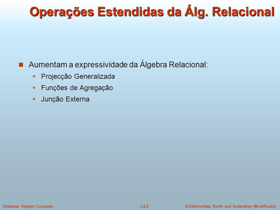 Operações Estendidas da Álg. Relacional