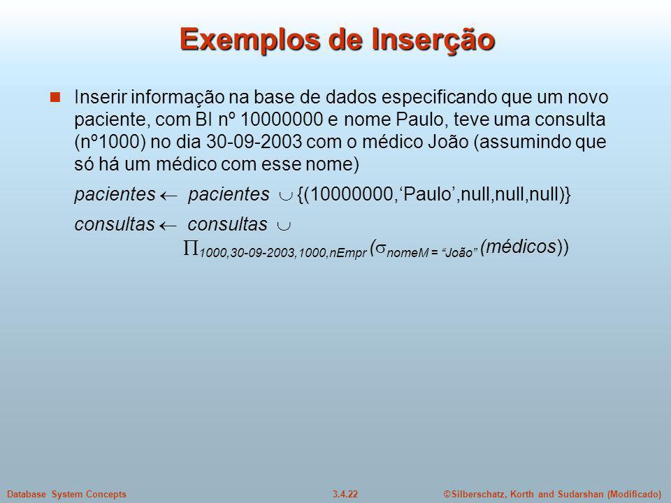 Exemplos de Inserção