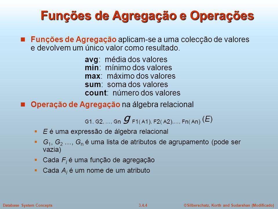 Funções de Agregação e Operações