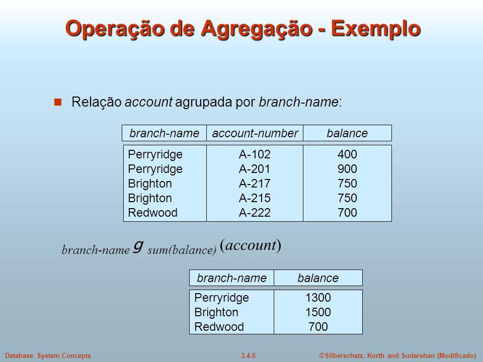 Operação de Agregação - Exemplo
