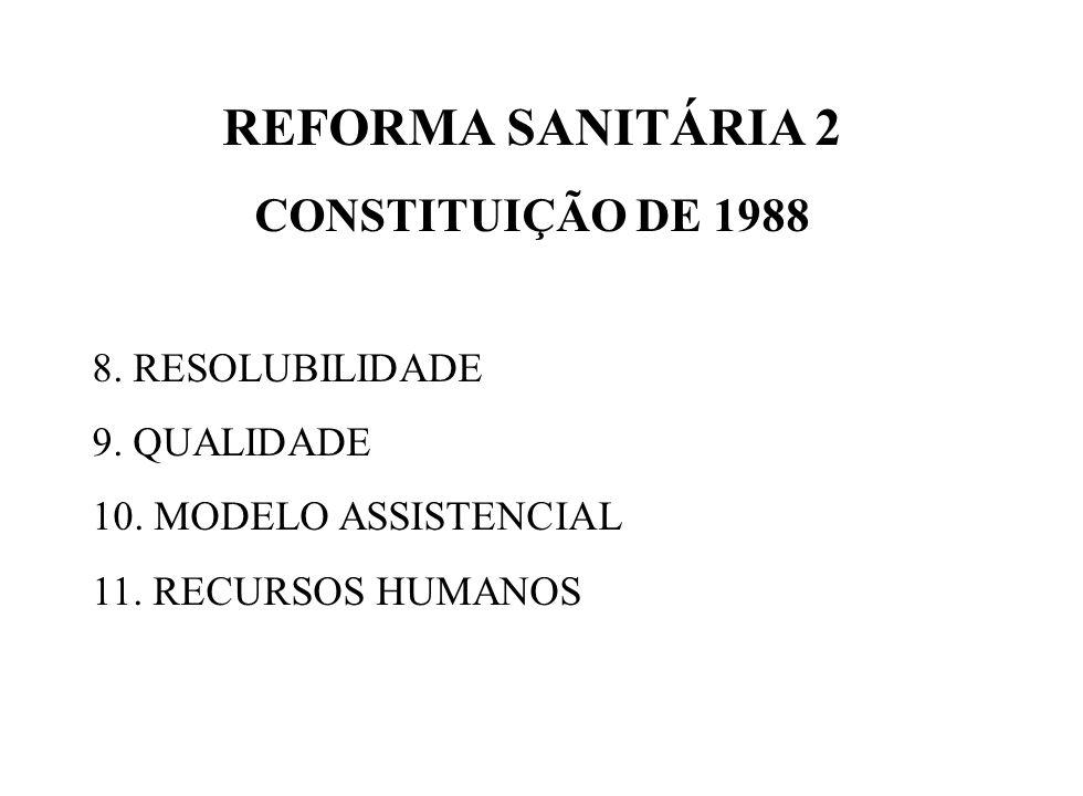 REFORMA SANITÁRIA 2 CONSTITUIÇÃO DE 1988 8. RESOLUBILIDADE