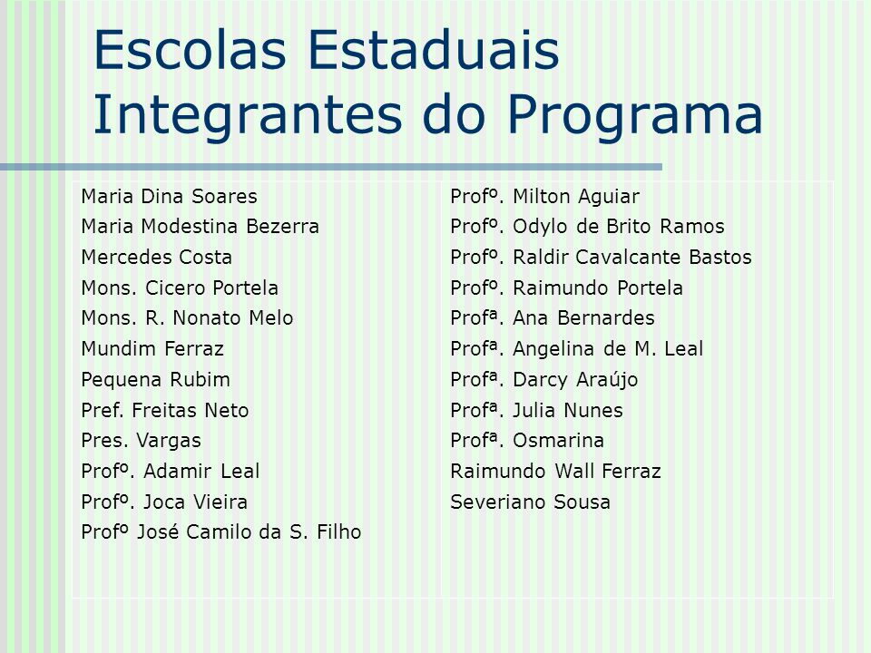 Escolas Estaduais Integrantes do Programa