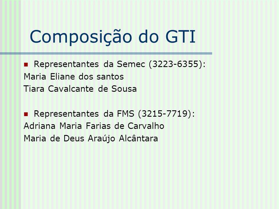Composição do GTI Representantes da Semec (3223-6355):