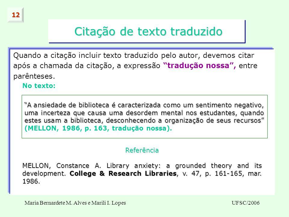 Citação de texto traduzido