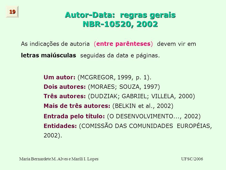 Autor-Data: regras gerais NBR-10520, 2002