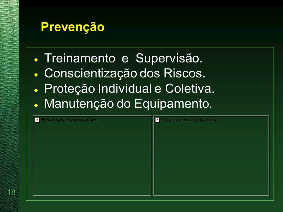 Prevenção Treinamento e Supervisão. Conscientização dos Riscos. Proteção Individual e Coletiva.