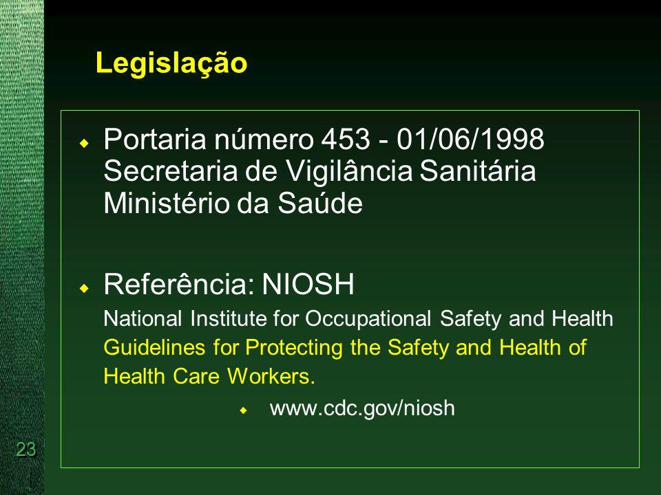 Legislação Portaria número 453 - 01/06/1998 Secretaria de Vigilância Sanitária Ministério da Saúde.