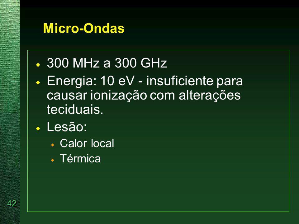 Micro-Ondas 300 MHz a 300 GHz. Energia: 10 eV - insuficiente para causar ionização com alterações teciduais.