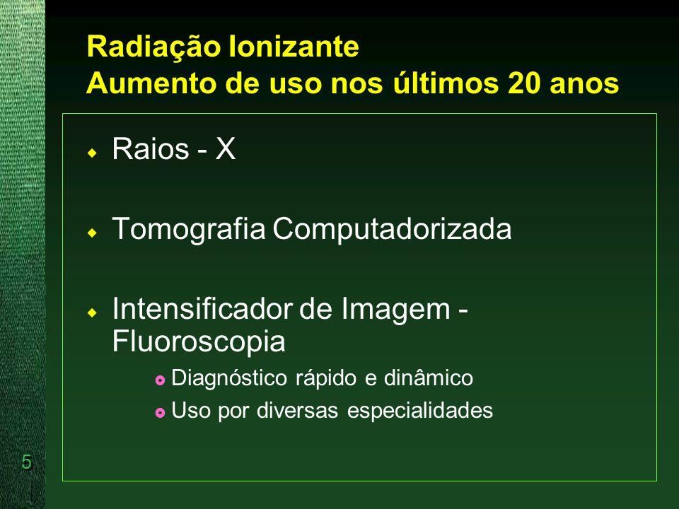 Radiação Ionizante Aumento de uso nos últimos 20 anos