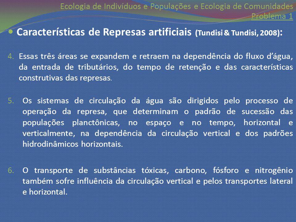 Características de Represas artificiais (Tundisi & Tundisi, 2008):