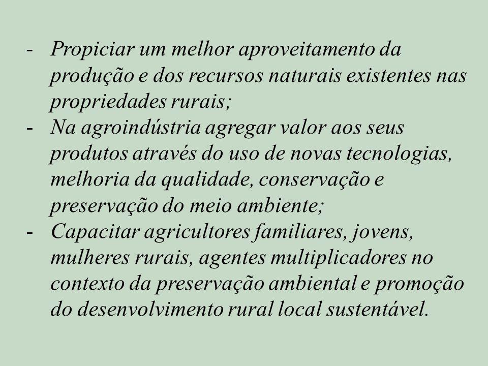 Propiciar um melhor aproveitamento da produção e dos recursos naturais existentes nas propriedades rurais;