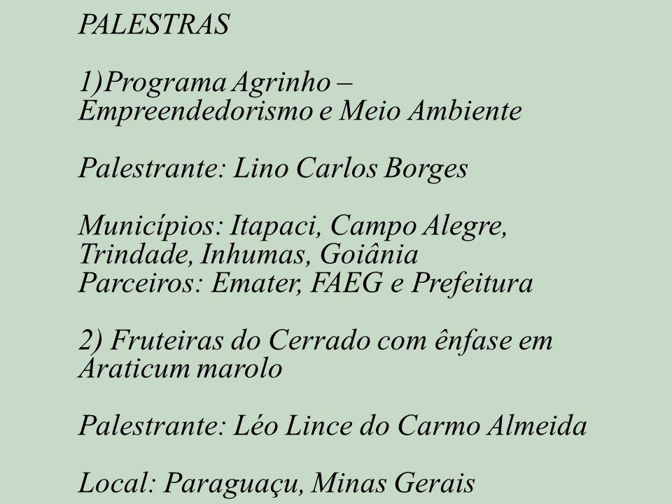 PALESTRAS 1)Programa Agrinho – Empreendedorismo e Meio Ambiente. Palestrante: Lino Carlos Borges.