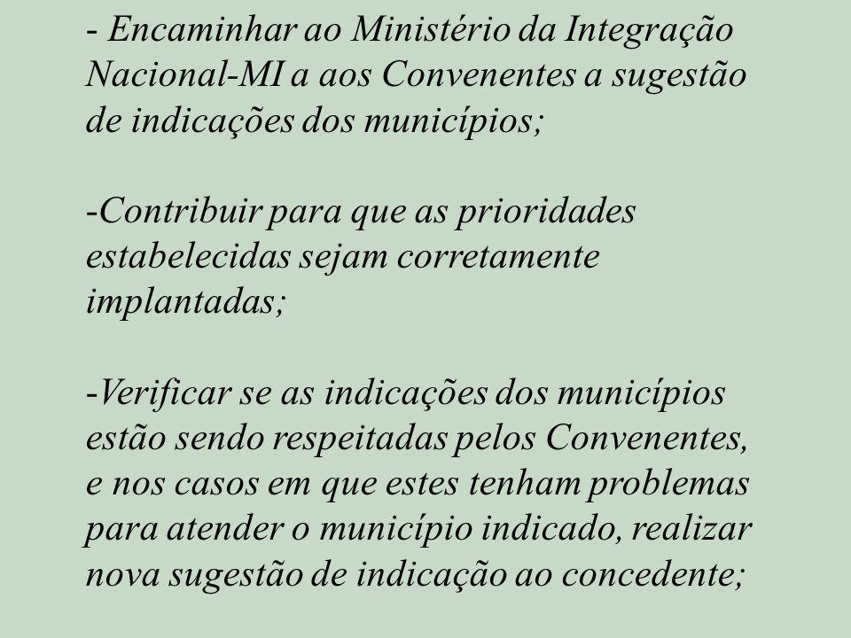 Encaminhar ao Ministério da Integração Nacional-MI a aos Convenentes a sugestão de indicações dos municípios;