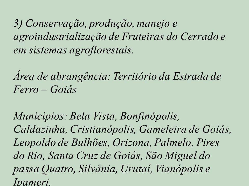 3) Conservação, produção, manejo e agroindustrialização de Fruteiras do Cerrado e em sistemas agroflorestais.