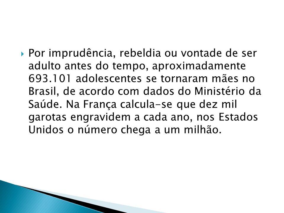 Por imprudência, rebeldia ou vontade de ser adulto antes do tempo, aproximadamente 693.101 adolescentes se tornaram mães no Brasil, de acordo com dados do Ministério da Saúde.