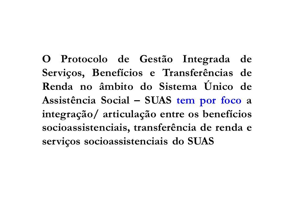 O Protocolo de Gestão Integrada de Serviços, Benefícios e Transferências de Renda no âmbito do Sistema Único de Assistência Social – SUAS tem por foco a integração/ articulação entre os benefícios socioassistenciais, transferência de renda e serviços socioassistenciais do SUAS