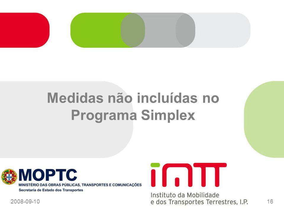 Medidas não incluídas no Programa Simplex