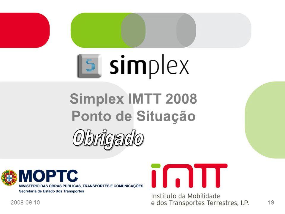 Simplex IMTT 2008 Ponto de Situação