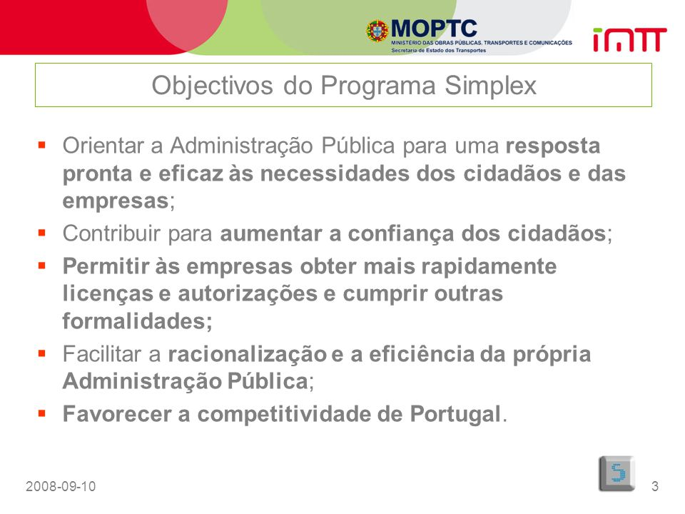 Objectivos do Programa Simplex