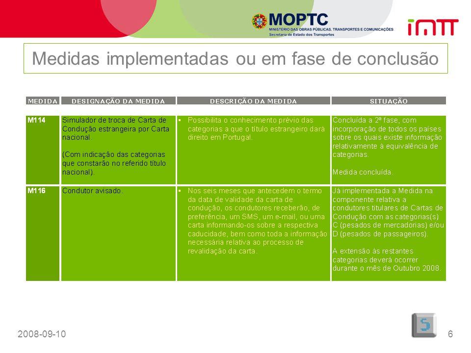 Medidas implementadas ou em fase de conclusão