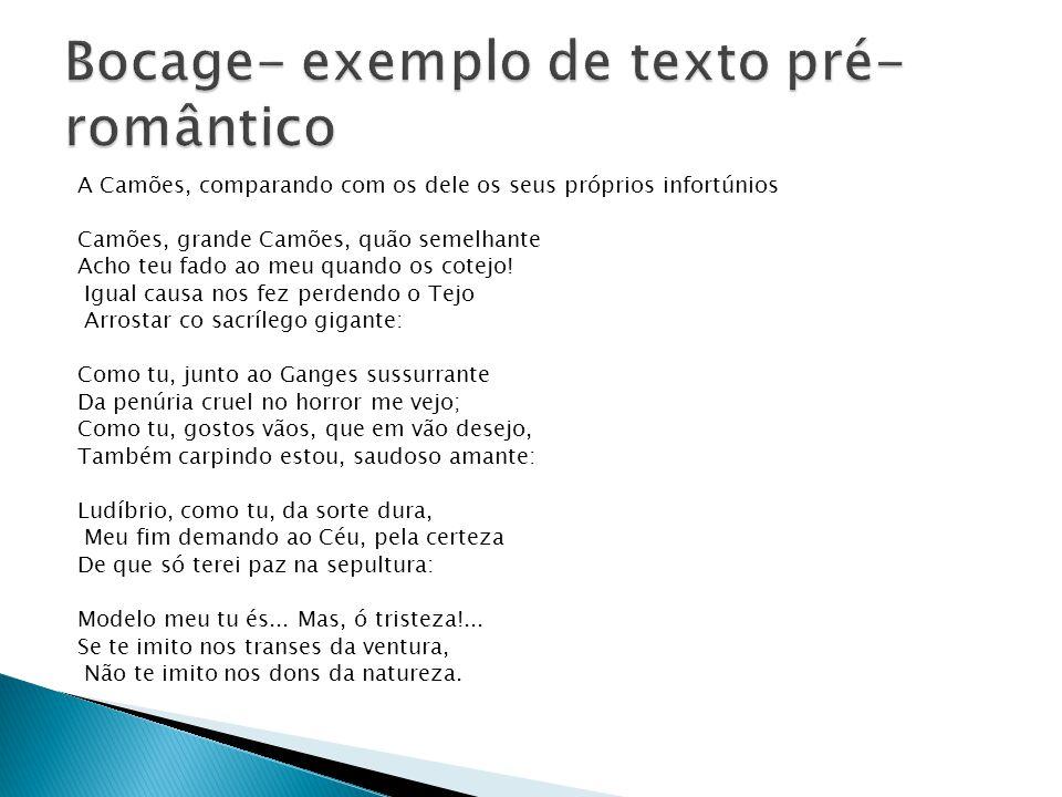 Bocage- exemplo de texto pré-romântico