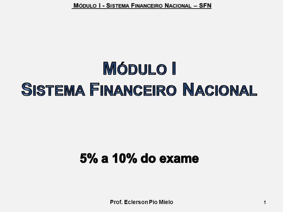 Sistema Financeiro Nacional Prof. Eclerson Pio Mielo