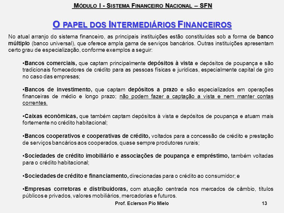O papel dos Intermediários Financeiros Prof. Eclerson Pio Mielo
