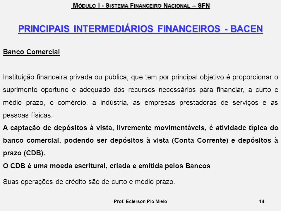 PRINCIPAIS INTERMEDIÁRIOS FINANCEIROS - BACEN Prof. Eclerson Pio Mielo