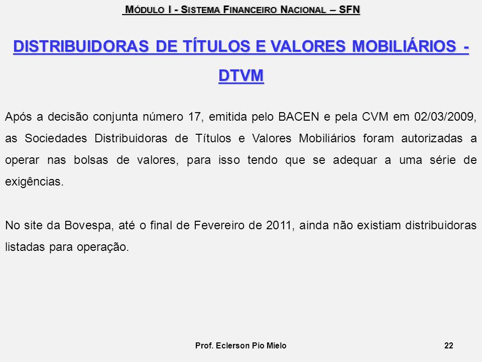 DISTRIBUIDORAS DE TÍTULOS E VALORES MOBILIÁRIOS - DTVM
