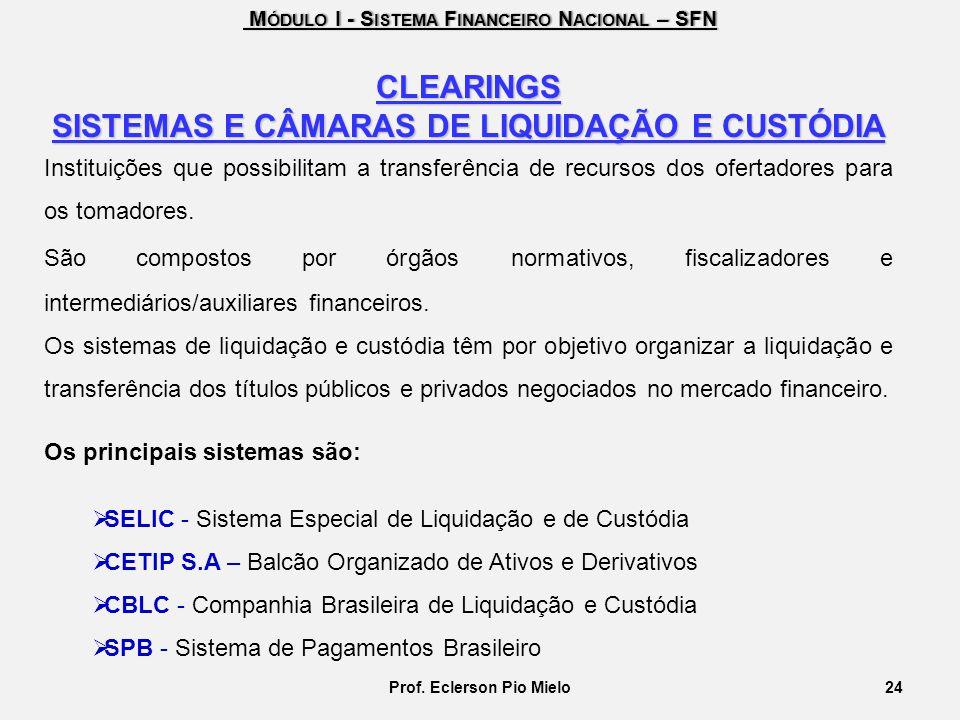 SISTEMAS E CÂMARAS DE LIQUIDAÇÃO E CUSTÓDIA Prof. Eclerson Pio Mielo
