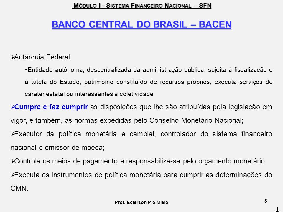 BANCO CENTRAL DO BRASIL – BACEN Prof. Eclerson Pio Mielo