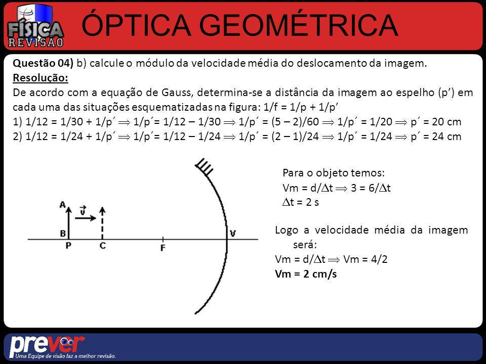 ÓPTICA GEOMÉTRICA Questão 04) b) calcule o módulo da velocidade média do deslocamento da imagem. Resolução: