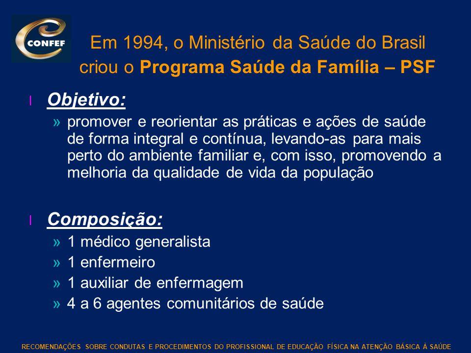 Em 1994, o Ministério da Saúde do Brasil criou o Programa Saúde da Família – PSF