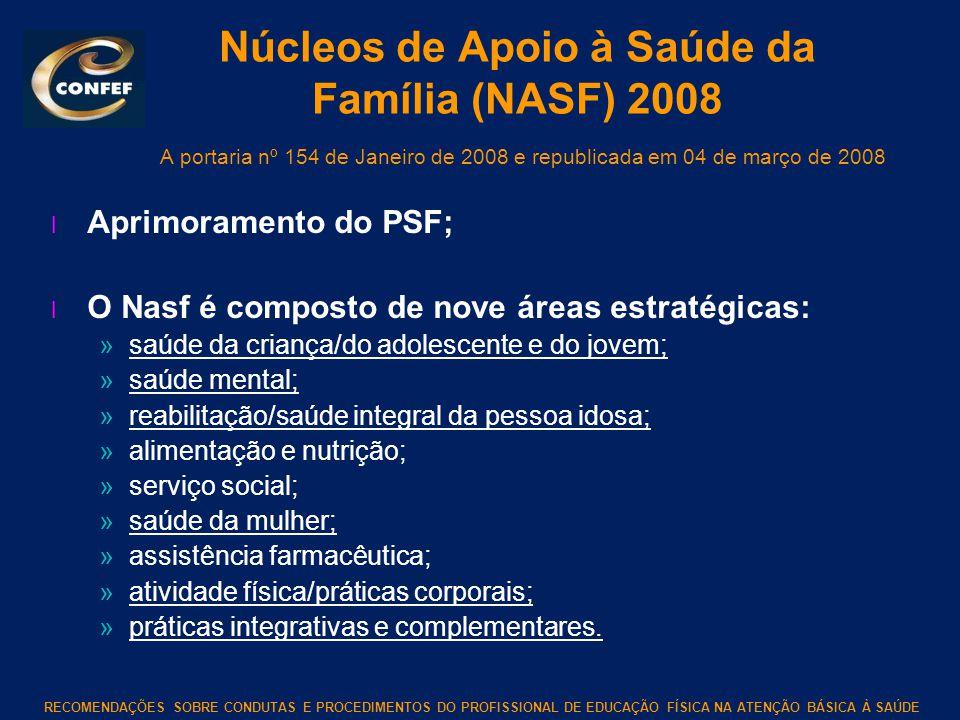 Núcleos de Apoio à Saúde da Família (NASF) 2008 A portaria nº 154 de Janeiro de 2008 e republicada em 04 de março de 2008