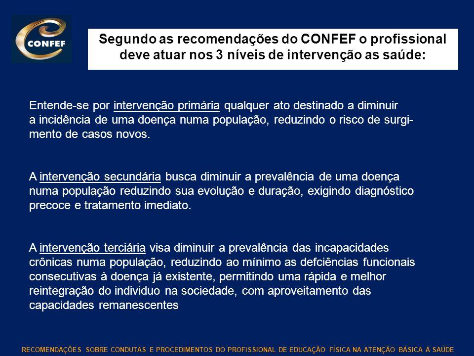 Segundo as recomendações do CONFEF o profissional deve atuar nos 3 níveis de intervenção as saúde:
