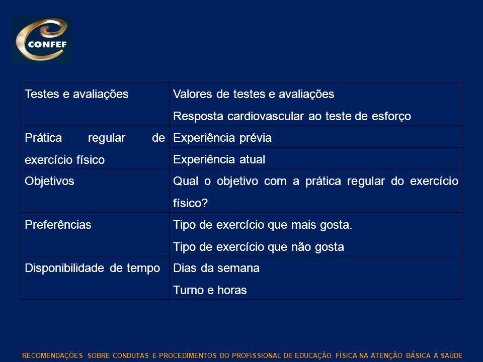 Testes e avaliações Valores de testes e avaliações. Resposta cardiovascular ao teste de esforço. Prática regular de exercício físico.
