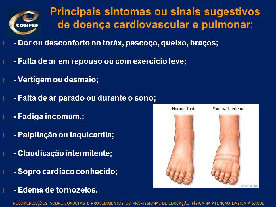 Principais sintomas ou sinais sugestivos de doença cardiovascular e pulmonar: