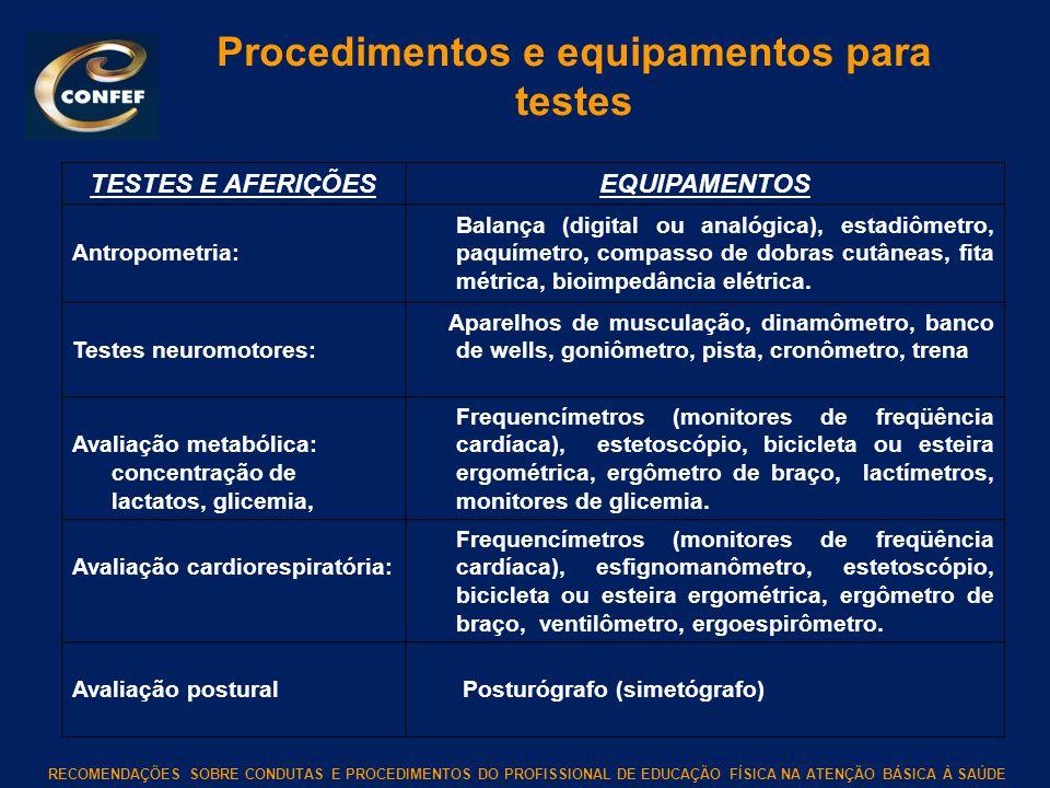 Procedimentos e equipamentos para testes