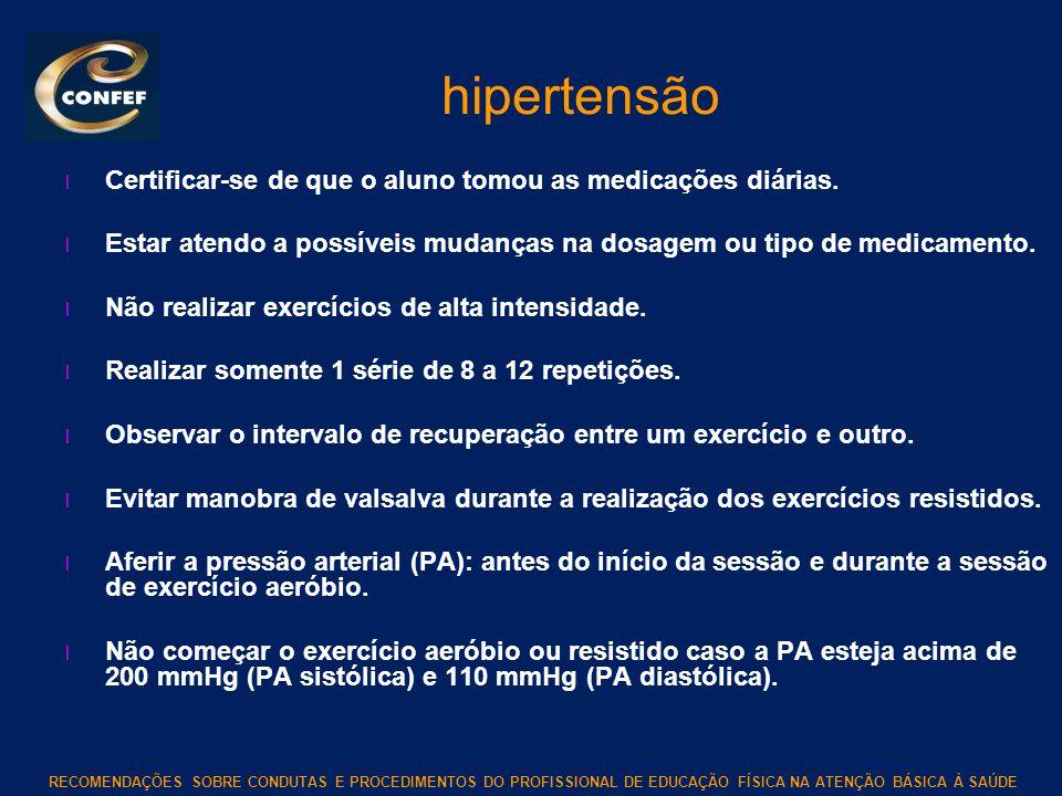 hipertensão Certificar-se de que o aluno tomou as medicações diárias.