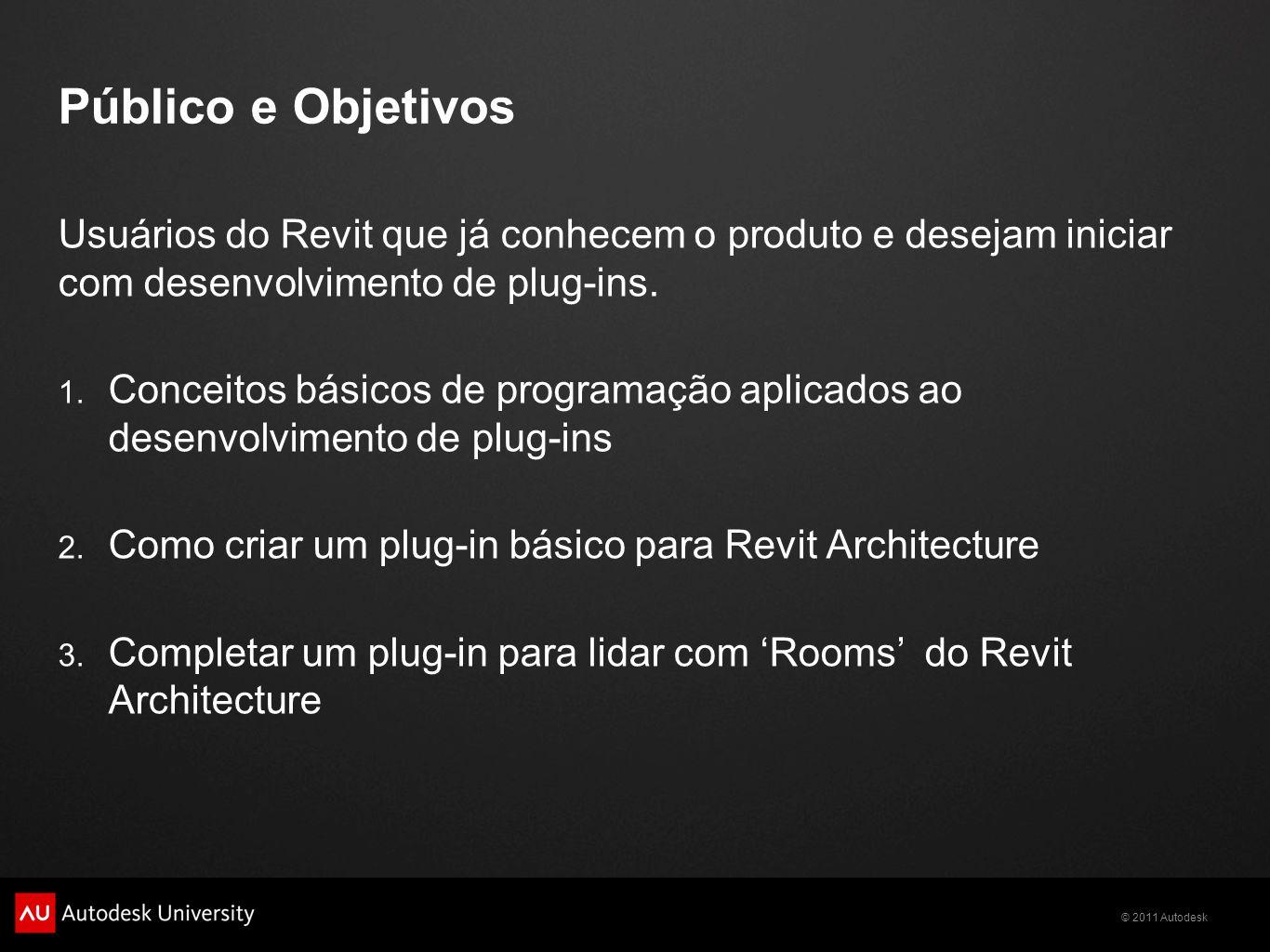 Público e Objetivos Usuários do Revit que já conhecem o produto e desejam iniciar com desenvolvimento de plug-ins.