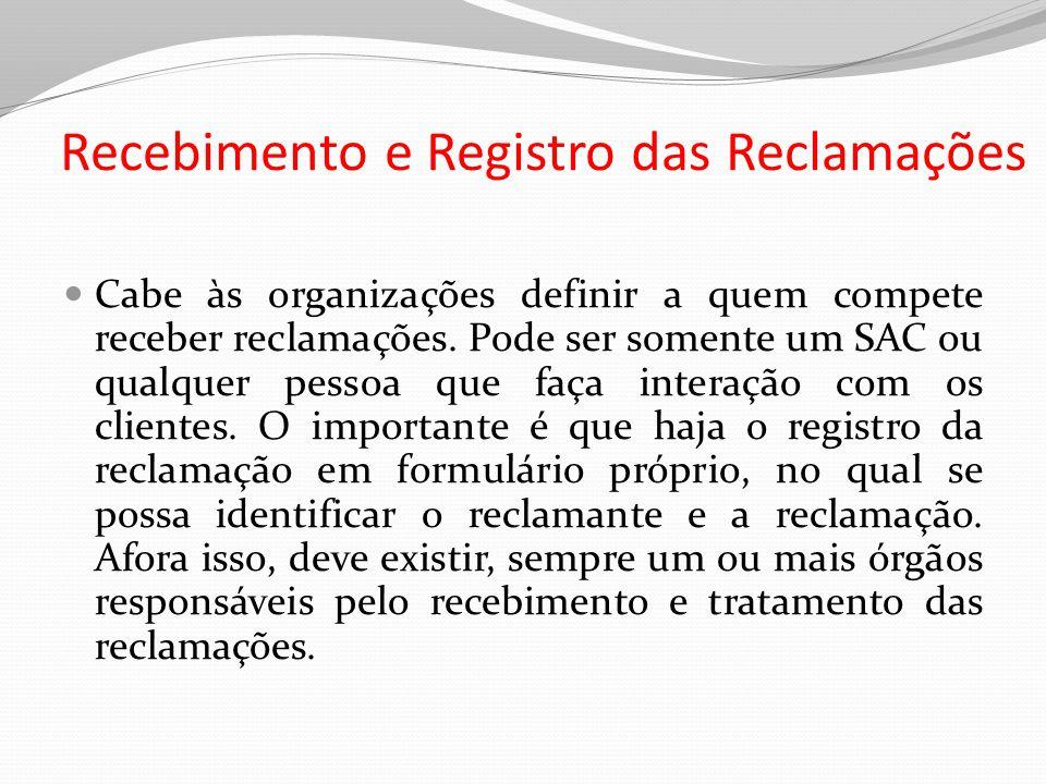 Recebimento e Registro das Reclamações