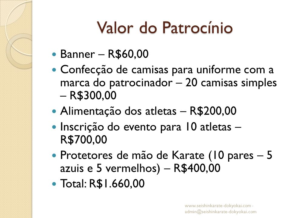 Valor do Patrocínio Banner – R$60,00