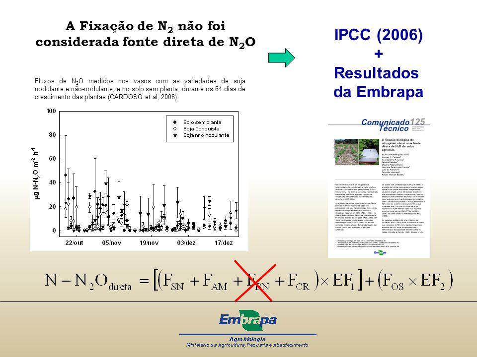 A Fixação de N2 não foi considerada fonte direta de N2O