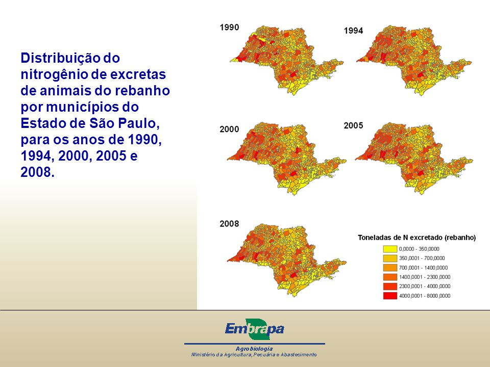 Distribuição do nitrogênio de excretas de animais do rebanho por municípios do Estado de São Paulo, para os anos de 1990, 1994, 2000, 2005 e 2008.