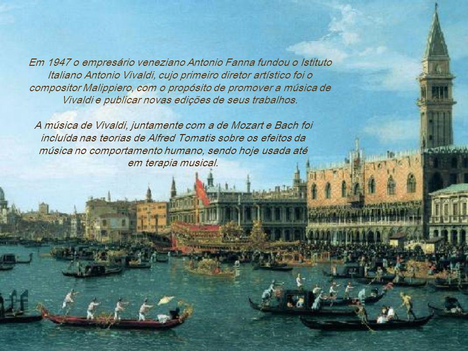 Em 1947 o empresário veneziano Antonio Fanna fundou o Istituto Italiano Antonio Vivaldi, cujo primeiro diretor artístico foi o compositor Malippiero, com o propósito de promover a música de Vivaldi e publicar novas edições de seus trabalhos.