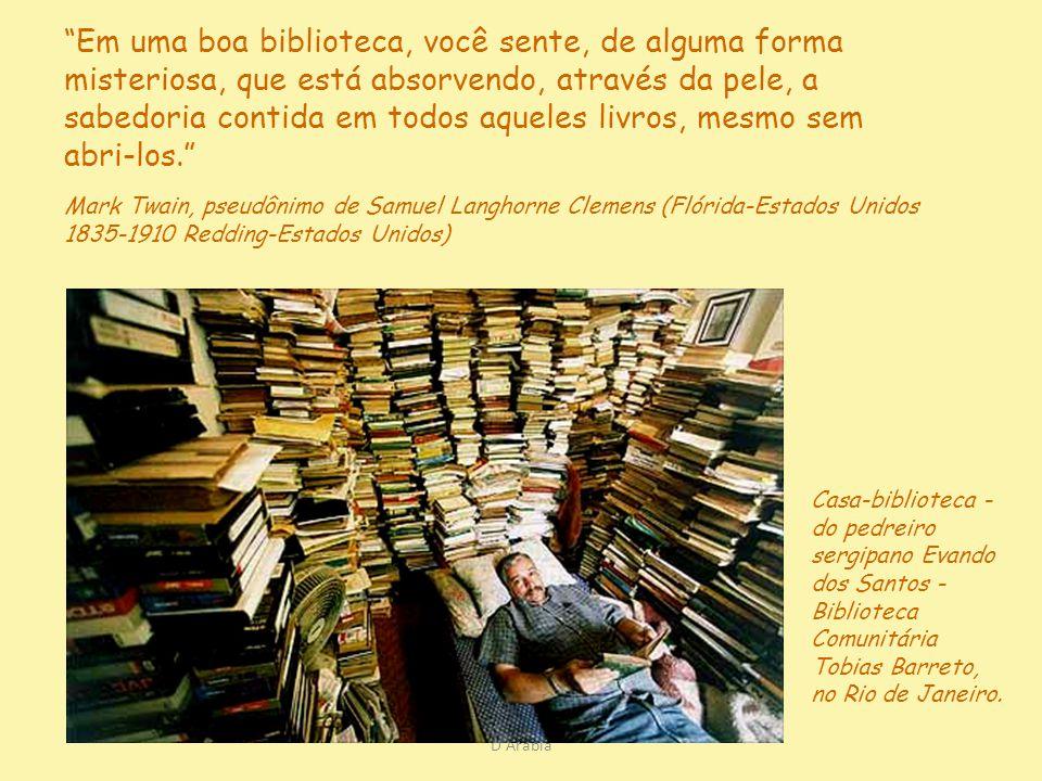 Em uma boa biblioteca, você sente, de alguma forma misteriosa, que está absorvendo, através da pele, a sabedoria contida em todos aqueles livros, mesmo sem abri-los.