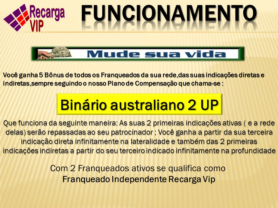 Binário australiano 2 UP Franqueado Independente Recarga Vip