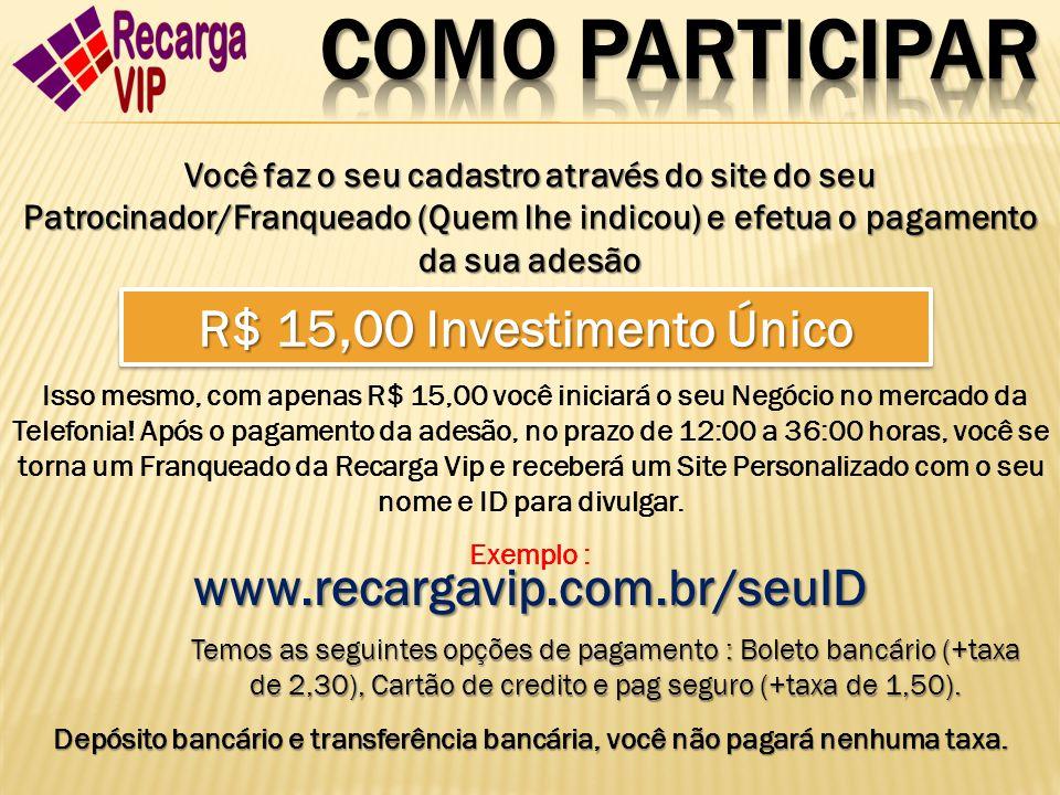 COMO PARTICIPAR R$ 15,00 Investimento Único