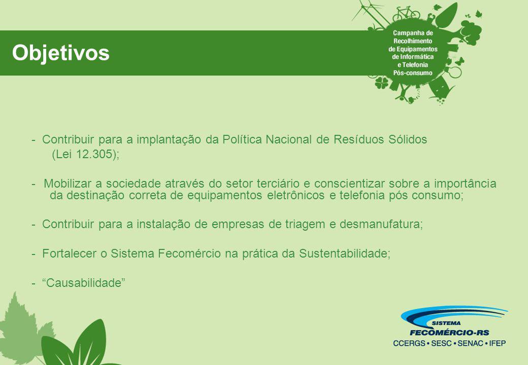 Objetivos - Contribuir para a implantação da Política Nacional de Resíduos Sólidos. (Lei 12.305);