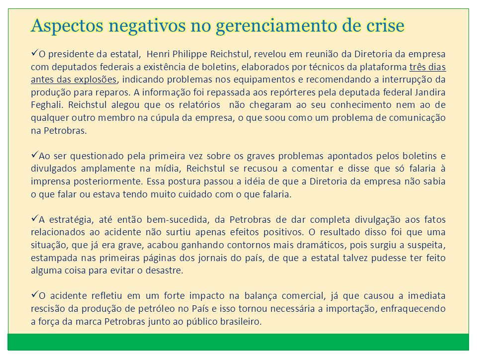 Aspectos negativos no gerenciamento de crise